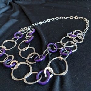 Jewelry - Double Silver & Purple Loop Necklace & Earrings